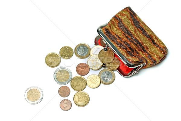 кошелька евро монетами изолированный белый деньги Сток-фото © mahout