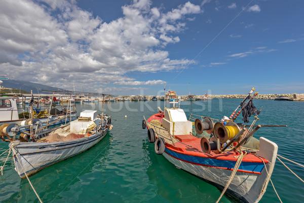 Vissen boten zee klein Griekenland stad Stockfoto © mahout