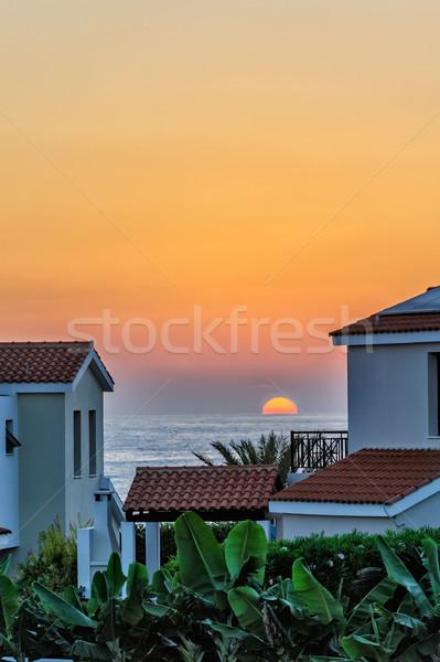 Puesta de sol vacaciones playa lujoso alquilar Chipre Foto stock © mahout