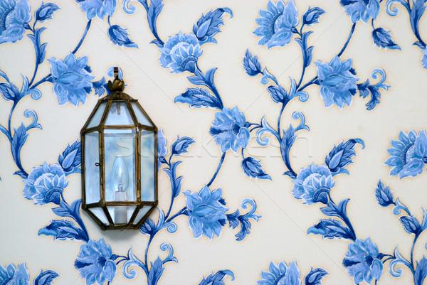 Lámpa régi tapéta dekoratív virág fal terv Stock fotó © mahout
