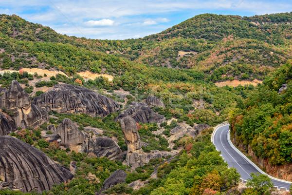 Estrada rochas Grécia árvore natureza montanha Foto stock © mahout