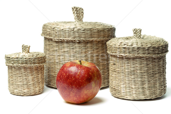Three wattled baskets and apple isolated Stock photo © mahout