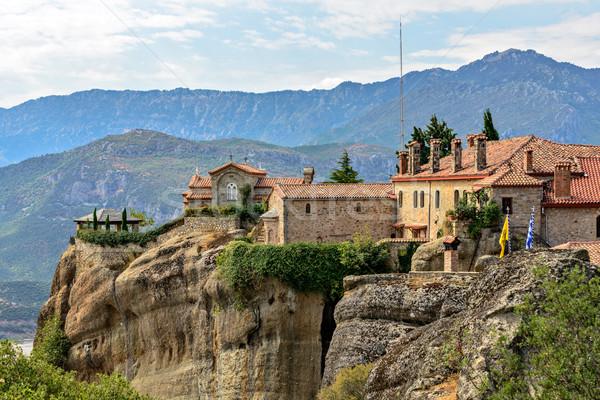 Mosteiro Grécia topo rochas céu nuvens Foto stock © mahout