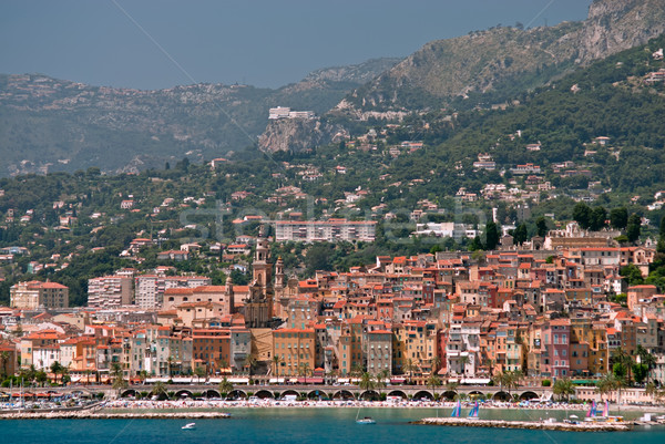Medieval town Menton in french riviera Stock photo © mahout