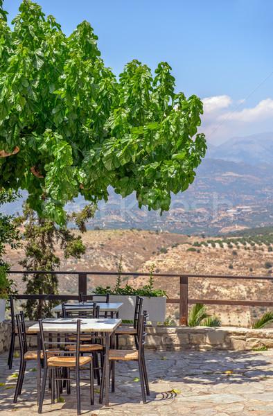 Cafe terras bergen landschap mooie Stockfoto © mahout