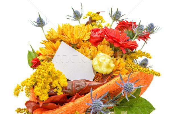 Tarjeta de regalo ramo hermosa flores aislado Foto stock © mahout