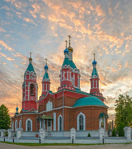 Ruso iglesia ardor puesta de sol ortodoxo árbol Foto stock © mahout