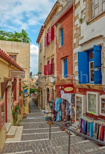 Ulicy starówka wyspa Grecja pamiątka sklepów Zdjęcia stock © mahout