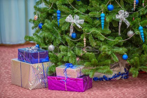 Presentes árvore de natal decorado verde inverno bola Foto stock © mahout