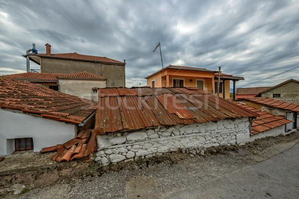 Velho telha telhados pequeno aldeia Grécia Foto stock © mahout