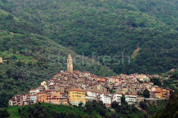 Panoramic view of town Castel Vittorio in Liguria Italy Stock photo © mahout