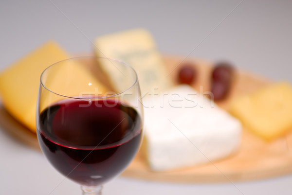 Verre vin fromages vin rouge plaque restaurant Photo stock © mahout