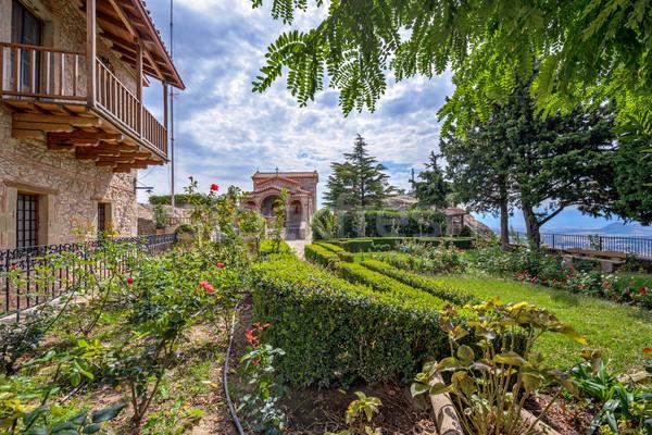 Monasterio Grecia hermosa jardín cielo edificio Foto stock © mahout