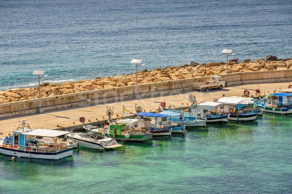Vissen boten zee zomer Blauw reizen Stockfoto © mahout