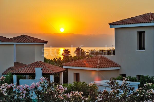 Zonsondergang vakantie strand luxueus huren Cyprus Stockfoto © mahout