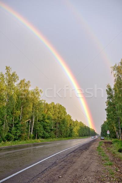 Doubler Rainbow route forêt ciel arbre Photo stock © mahout