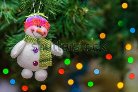 Schneeball Spielzeug Weihnachtsbaum Lächeln Design Spaß Stock foto © mahout
