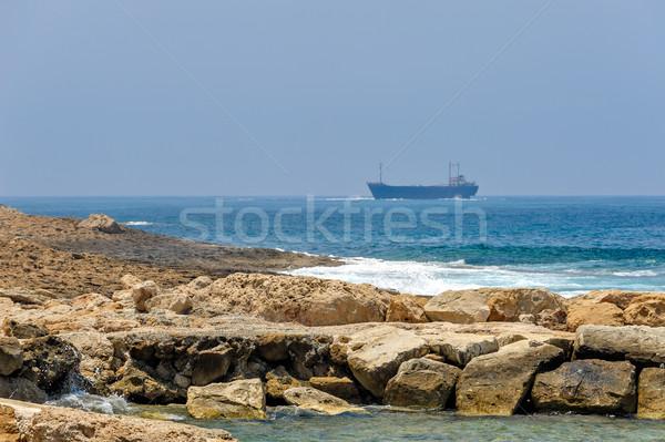 Sea coast and cargo ships Stock photo © mahout