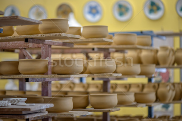 Shelves with clay dishware  Stock photo © mahout