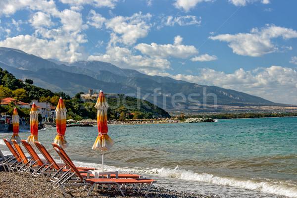 ビーチ 小 ギリシャ 町 夏 海 ストックフォト © mahout