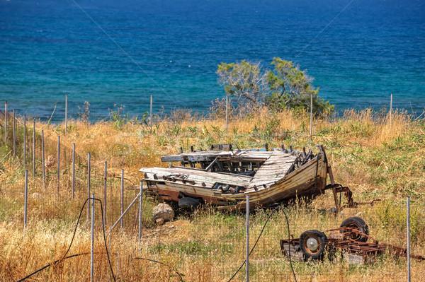öreg törött csónak fából készült fa tájkép Stock fotó © mahout