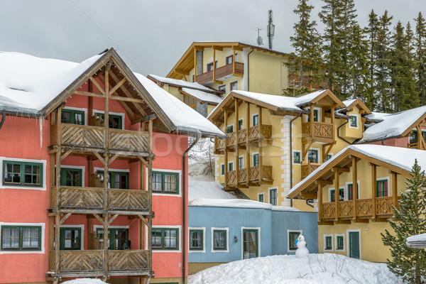 Hotel on ski resort in austrian Alps Stock photo © mahout