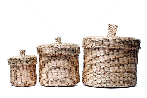 Three wattled baskets isolated on white Stock photo © mahout