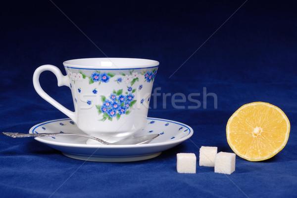 Beker thee citroen suiker kubus plaat Stockfoto © mahout
