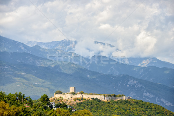 Középkori erőd kisváros Görögország felhők természet Stock fotó © mahout