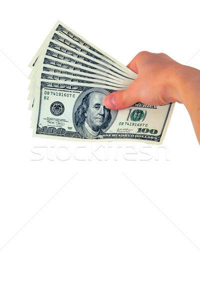 Mano dinero aislado blanco papel signo Foto stock © mahout