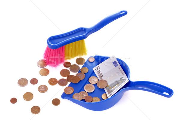 Brush sweeping euro isolated on white Stock photo © mahout