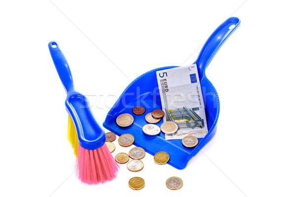 Cepillo euros aislado blanco monedas Foto stock © mahout