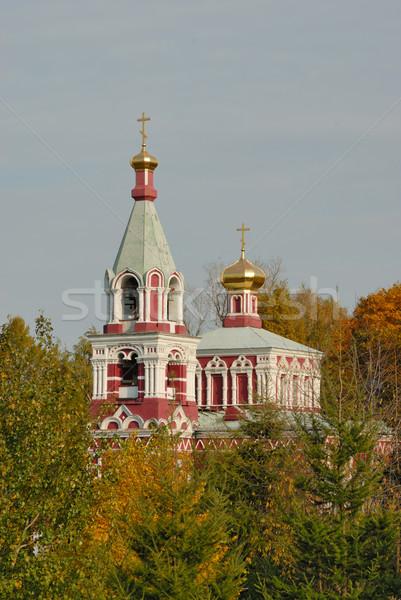 Orosz ortodox templom ősz erdő körül Stock fotó © mahout