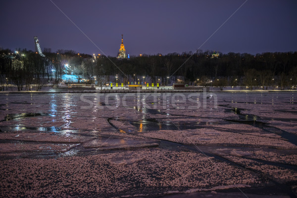 Night view of Moscow river in ice Stock photo © mahout