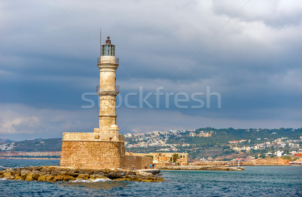 Old lighthouse in port of Chania on Crete island. Greece Stock photo © mahout