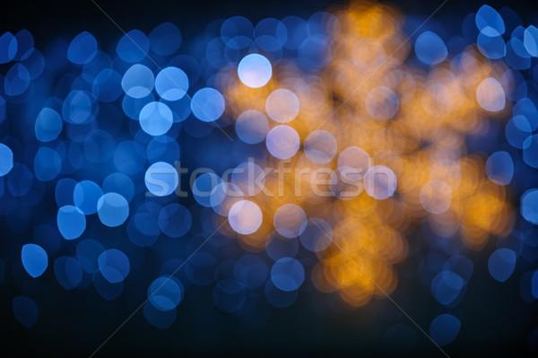 Abstract winter bokeh lichten sneeuwvlok ontwerp Stockfoto © mahout