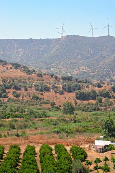 Кипр ветер электростанция холмы небе Сток-фото © mahout