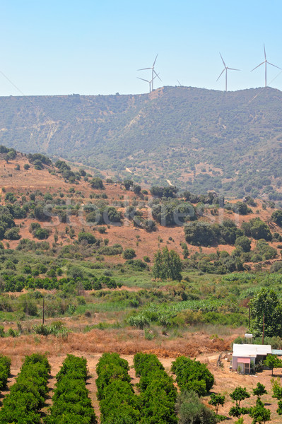 Cyprus wind energiecentrale heuvels hemel Stockfoto © mahout