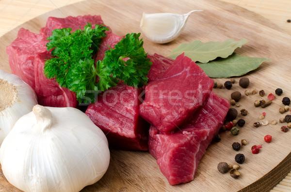 Foto stock: Fresco · carne · comida · madeira