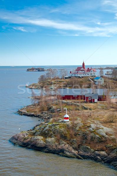 острове Балтийское море Хельсинки Финляндия дома древесины Сток-фото © maisicon