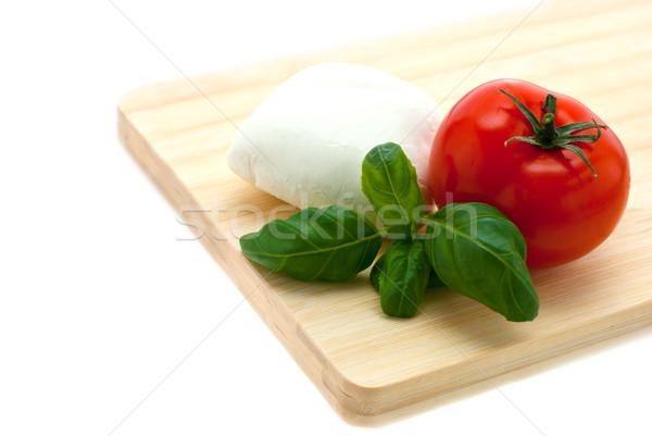 Mozzarella fesleğen domates domates gıda ahşap Stok fotoğraf © maisicon