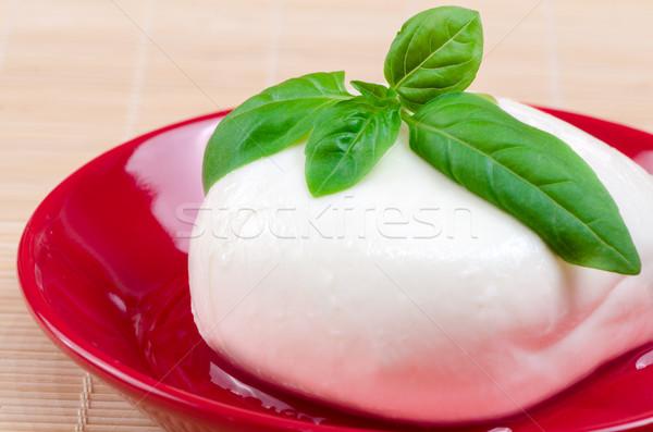 Mozzarella bazsalikom tányér buli fény háttér Stock fotó © maisicon