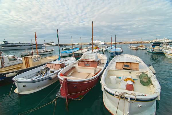 Hajók halászat kikötő sziget égbolt természet Stock fotó © maisicon