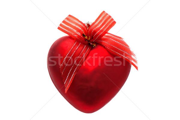 Noel oyuncak kırmızı kalp yalıtılmış beyaz Stok fotoğraf © maisicon