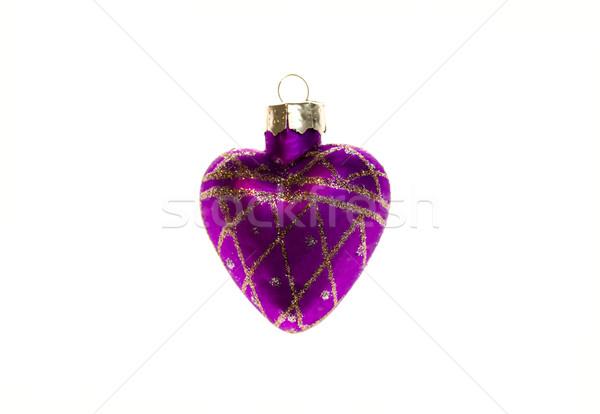Noel oyuncak mor kalp yalıtılmış beyaz Stok fotoğraf © maisicon