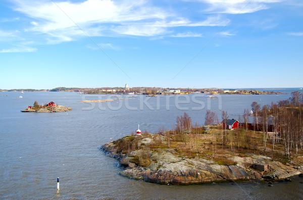 Stok fotoğraf: Kale · Helsinki · Finlandiya · ada · gökyüzü · su