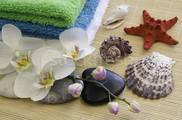 Spa zen taşlar orkide su doku Stok fotoğraf © maisicon