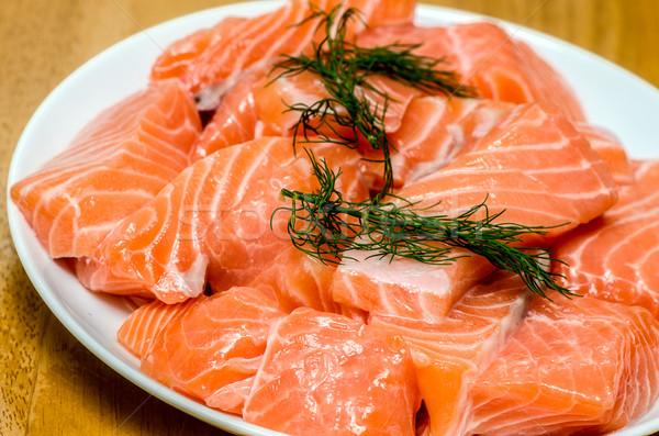 Сток-фото: свежие · лосося · белый · пластина · рыбы · обеда