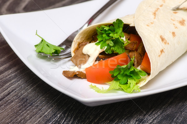 wrap with meat Stock photo © maisicon
