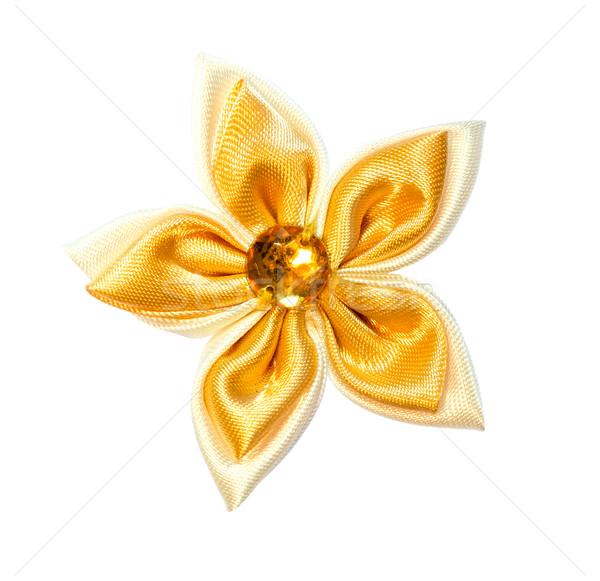 çiçek kumaş altın renk yalıtılmış beyaz Stok fotoğraf © maisicon